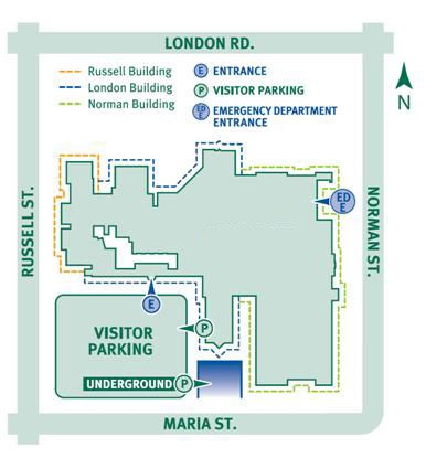 Map of entrance to Bluewater Health